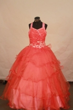 Luxurious Ball Gown Off The Shoulder Neckline Floor-Length Watermelon Beading and Appliques Flower Girl Y042428