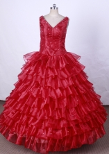 Luxurious Ball Gown V-Neck Floor-Length Hot Pink Beading Flower Girl Dresses Style FA-S-190