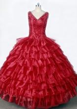 Luxurious Ball Gown V-Neck Floor-Length Hot Pink Beading Flower Girl Dresses Style FA-S-190