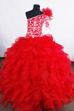 Luxurious Ball gown One-shoulder Neck  Floor-length Flower Girl Dresses Style FA-C-124