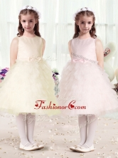 Luxurious Scoop Flower Girl Dresses with Ruffles and BowknotFGL282FOR