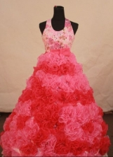 Luxuriously Ball Gown Halter Top Floor-length Pink Organza Flower Gril dress Style FA-L-446