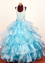 Modest Ball Gown Halter Floor-Length Organza Little Girl Pageant Dresses Style FA-Y-338