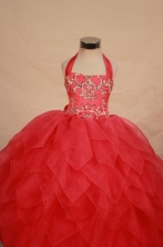 Modest Ball gown Halter Top neck Floor-length Red Beading Flower Girl Dresses Style FA-C-254