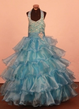 Modest Ball gown Halter top neck Floor-Length Little Girl Pageant Dresses Style FA-Y-338