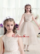 Most Popular Scoop Champagne Flower Girl Dresses with Appliques  FGL291FOR
