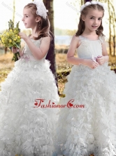 New Arrivals Ruffled and Bowknot White Flower Girl Dress with Straps FGL350FOR