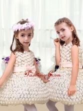 New Arrivals Scoop Short Little Girl Dresses with Bowknot LTG232AFOR