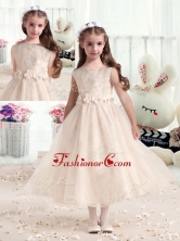 New Style Bateau Champagne Flower Girl Dresses with AppliquesFGL276FOR