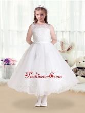 New Style Scoop Appliques White Flower Girl Dresses  FGL258FOR