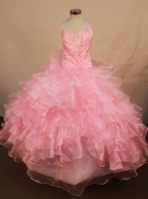 Perfect Ball Gown Halter Top Floor-length Baby Pink Organza Beading Flower Gril dress Style FA-L-419