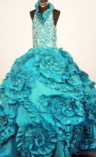 Perfect Ball Gown Halter Top Neck Floor-Length Taffeta Little Girl Pageant Dresses Style FA-Y-62