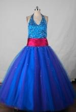 Perfect Ball Gown Halter Top NeckFloor-Length Blue Beading Flower Girl Dresses Style FA-S-403