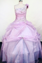 Perfect Ball Gown One Shoulder Floor-length Lilac  Appliques Flower Girl dress Style FA-L-435