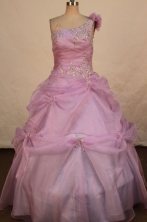Perfect Ball Gown One Shoulder Floor-length Lilac  Appliques Flower Gril dress Style FA-L-435
