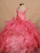 Perfect Ball Gown Scoop Floor-length Hot Pink Organza Appliques Flower Gril dress Style FA-L-458