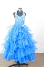 Perfect Ball gown Halter top neck Floor-Length Little Girl Pageant Dresses Style FA-Y-322
