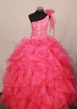 Perfect Ball gown One-shoulder Neck Floor-length Flower Girl Dresses Style FA-C-143