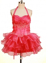 Perfect Short Halter Top Neck Mini-Length Beading Little Girl Pageant Dresses Style FA-Y-346