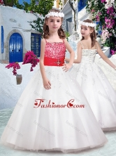 Perfect Spaghetti Straps Flower Girl Dresses with Appliques and Beading FGL294FOR