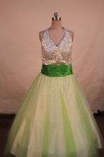 Popular A-line Halter Top neck Floor-length Beading Flower Girl Dresses Style FA-C-261
