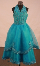 Popular A-line Halter top neck Floor-length Litter Pageant Girl Dress Style FA-W-291