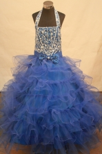 Popular Ball Gown Halter Top Neck Floor-Length Blue Beading and Applqiues Flower Girl Dresses Y042411