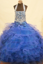 Popular Ball Gown Halter Top Neck Floor-Length Blue Beading and Applqiues Flower Girl Dresses Style FA-S-243