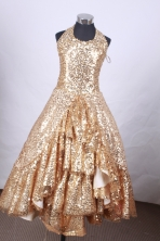 Popular Ball Gown Halter Top Neck Floor-Length Gold Beading Flower Girl Dresses Style FA-S-189