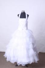 Popular Ball Gown Halter Top Neck Floor-Length White Beading Flower Girl Dresses Style FA-S-195