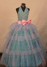 Popular Ball Gown Halter Top Teal Beading Flower Gril dress Style FA-L-449
