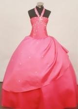 Popular Ball Gown Halter top neck Floor-Length Taffeta Little Girl Pageant Dresses Style FA-Y-310