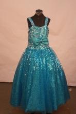 Popular Ball Gown Off The Shoulder Neckline Floor-Length Blue Beading Flower Girl Dresses Y042410