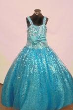 Popular Ball Gown Off The Shoulder Neckline Floor-Length Blue Beading Flower Girl Dresses Style FA-S-245