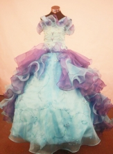 Popular Ball Gown Strap Floor-Length Organza Little Girl Pageant Dresses Style FA-Y-309