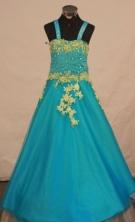 Popular Ball Gown Strap Floor-length Aqua Blue Appliques Flower Gril dress Style FA-L-444