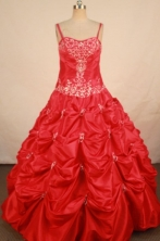 Popular Ball Gown Strap Floor-length Red Taffeta Appliques Flower Gril dress Style FA-L-420