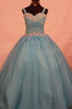 Popular Ball Gown Strap Floor-length Teal Appliques Flower Gril dress Style FA-L-430