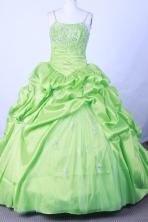 Popular Ball Gown Straps Floor-Length Spring Green Flower Girl Dresses Style FG42306