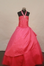 Popular Ball gown Halter top neck Floor-Length Little Girl Pageant Dresses Style FA-Y-310