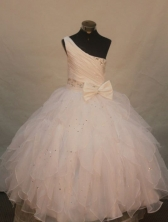 Popular Ball gown One shoulder neck Floor-Length Little Girl Pageant Dresses Style FA-Y-311