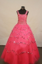 Popular Ball gown Strap Floor-Length Little Girl Pageant Dresses Style FA-Y-306