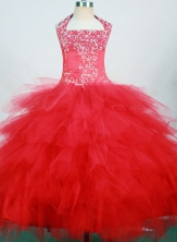 Pretty Ball Gown Halter Top Neck Floor-Length Hot Pink Beading Flower Girl Dresses Style FA-S-222