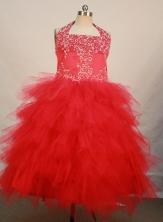 Pretty Ball Gown Halter Top Neck Floor-Length Hot Pink Beading Flower Girl Dresses Style FA-S-222