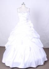 Pretty Ball Gown Off The Shoulder Neckline  Floor-Length WhiteFlower Girl Dress Y042404
