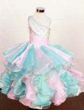 Pretty Ball Gown One Shoulder Neck Floor-Length Beading Little Girl Pageant Dresses Style FA-Y-351