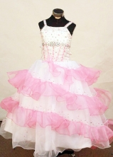 Pretty Ball Gown Strap Floor-Length Organza Little Girl Pageant Dresses Style FA-Y-319