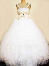 Pretty Ball Gown Strap Floor-Length White Little Girl Pageant Dresses Style FA-Y-353