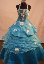 Pretty Ball gown Halter top neck Floor-length Litter Girl Pageant Dress Style FA-W-286