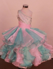 Pretty Ball gown One shoulder neck Floor-Length Little Girl Pageant Dresses Style FA-Y-351